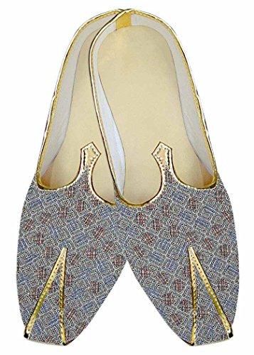 INMONARCH Herren Himmel Blau Hochzeit Schuhe Quadratischen Muster MJ015972