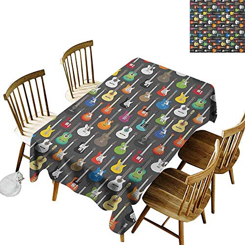DONEECKL Guitar Home Decoration Tablecloth Anti-Overflow Tablecloth Grunge Instruments Strings Creativity Writing Songs Digital Classic Acoustic Music Multicolor W70 xL120]()