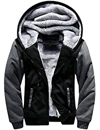 Men's Pullover Winter Fleece Hoodie Jackets Full Zip Warm Thick Coats