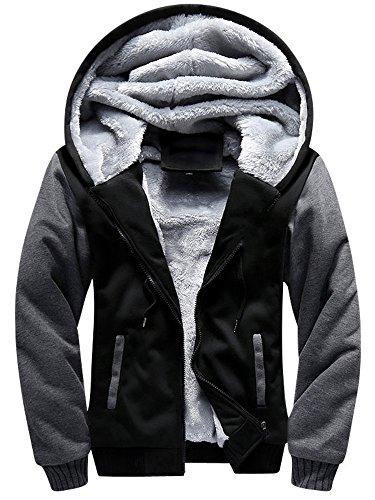 TOLOER Men's Pullover Winter Fleece Hoodie Jackets Full Zip Warm Thick Coats Black Medium