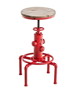 Topower American Antique Vintage Industrial Barstool Solid Wood Water Pipe Fire Hydrant Design Cafe Coffee Industrial Bar Stool (Antique Red, 1)