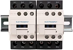 Electrodepot 30 Amp 6 Pole (3 Pole x 2) Normally Open | Auxiliary 1NO/1NC | 110/120VAC Coil | Motor Load 32A, Lighting Load 50A | Contactors Bundle with DIN Rail, 35 x 150 mm and 2#10 Screws