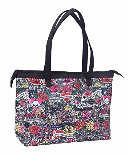(Harley-Davidson Shopper Tote, H-D Tattoo Print Shoulder Bag, Pink 99914-TAT)