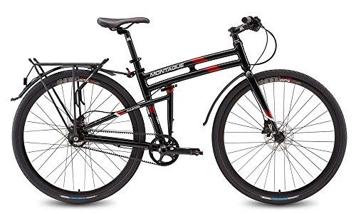 "Montague Allston 19"" Gloss Black/Red 11 Speed Belt Drive Folding Bike"