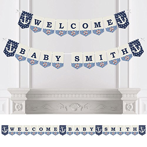 Big Dot of Happiness Custom Ahoy - Nautical - Personalized Baby Shower Bunting Banner & Decoration - Welcome Baby Custom Name Banner -