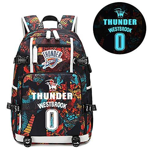 Basketball Player Star Westbrook Luminous Backpack Travel Student Backpack Fans Bookbag for Men Women (Style 1)