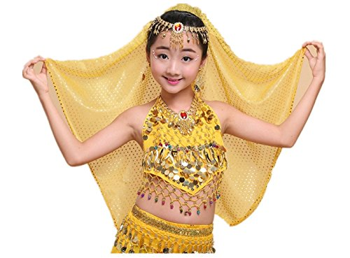 Bear boys Children's Belly Indian Dance Show Costumes Suit, Bracelet+Necklace+Scarf Yarn+Headdress+Earrings+Upper Garment+Waist Chain (Yellow)