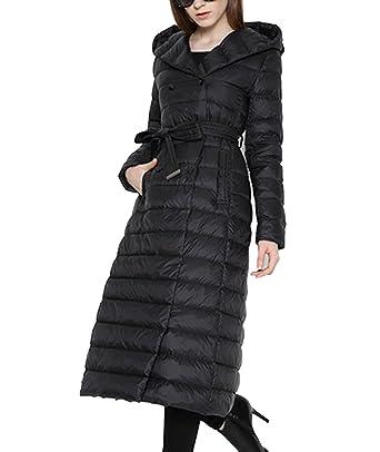 Lukitty Women s Long Down Coat Lightweight Hooded Maxi Puffer Jacket Parka  M Black 94ee49e14f