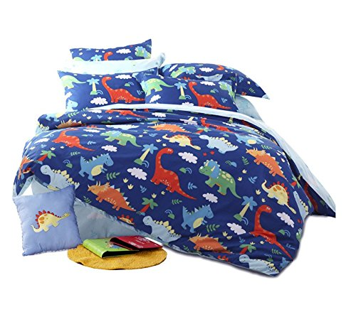 HNNSI 4 Piece Cotton Dinosaur Kids Boys Bedding Sets Queen Size, Dinosaur Kids Duvet Cover with Fitted Bed Sheet, Dinosaur Quilt /Comforter Cover for Children Teens (Queen, Fitted Sheet Set) by HNNSI (Image #1)