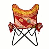 Product review for Butterfly Chair with handmade cover made with vintage Indian fabric and heavy-duty canvas with tribal pieces