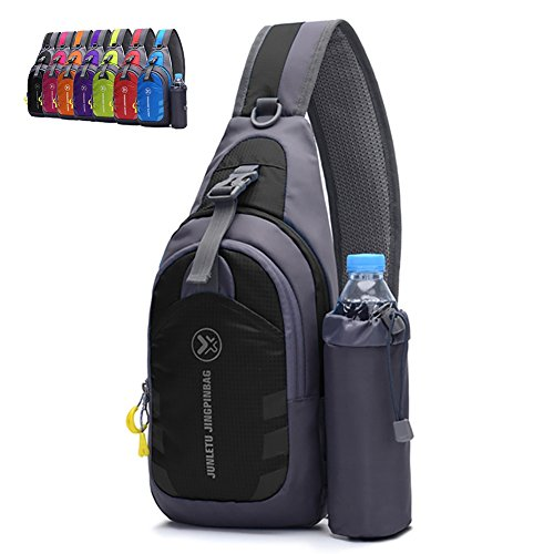 - Peicees Chest Crossbody Backpack Sling Backpack Travel Bike Gym Outdoor Daypack Single Shoulder Sling Bag with Water Bottle Holder for Women Men Boys and Girls(Black)