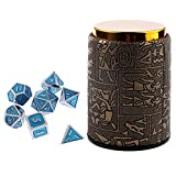 Dolity 7X Metal Polyhedral Dice For Dungeons And Dragons Board Games Accessory+Dice Cup #C