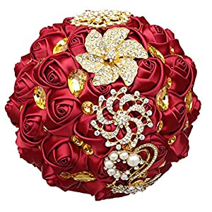 WIFELAI-A Dark Red Wedding Flowers Bridal Bouquets Rhinestone Brooch Flowers Crystal Bride Holding Bouquet White Ivory Satin Roses with Diamond Pearl Ribbon (Dia:8.26inchH:10inch Dark Red W227Q-10) 2