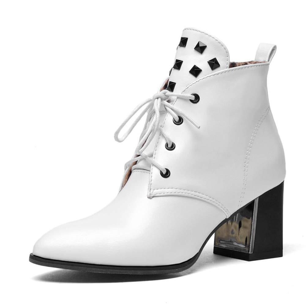 CITW Herbstliche Damenstiefel Rivet High Heels Stiefel Großformat Damenstiefel Mit Martin Stiefel Warme Stiefel,Weiß,UK1 EUR35