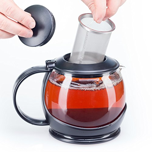Glass Teapot with Infuser and Warmer Sleeve, Blooming Loose Leaf Tea Pot, Tea Infuser Holds 4 -5 Cups -2 Infusers Included Perfect Mother's Day Gift