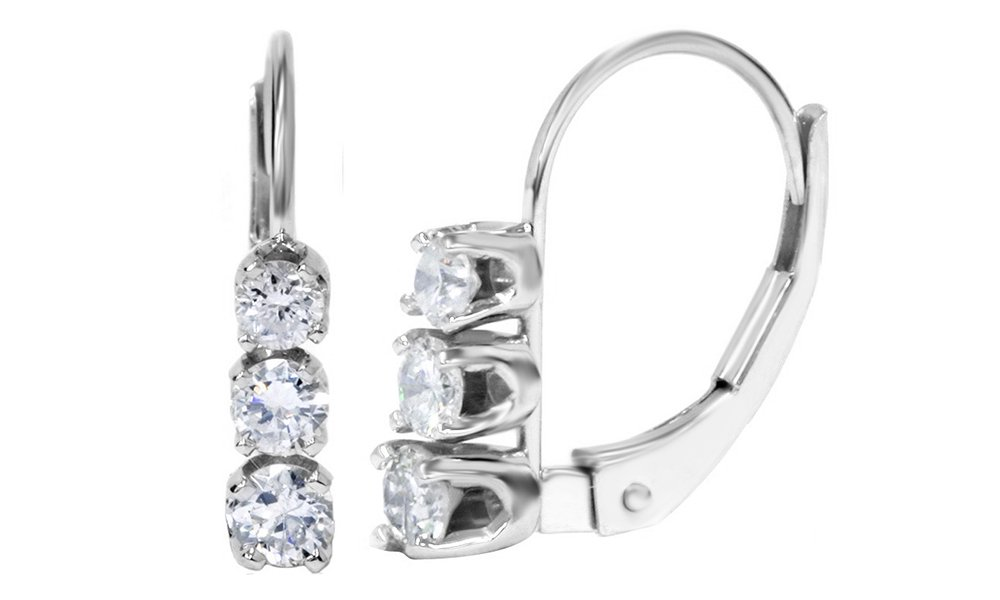 Mothers Day Jewelry Gifts Round Brilliant Cut Natural Diamond Earrings Three Stone 14K Solid White Gold (.50 Ct)