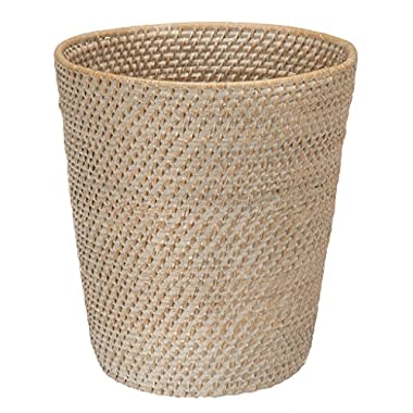 KOUBOO Round Rattan White Wash Waste Basket