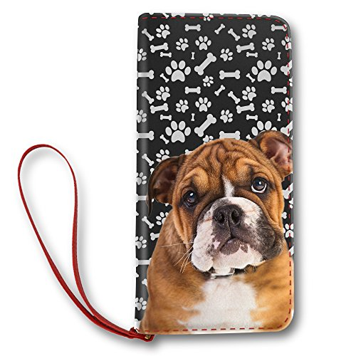 Bulldog Dog Paw Pattern, Women Leather Long Clutch Wallet Purse Card Holder by NIWAHO