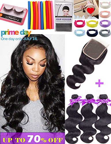 Brazilian Body Wave Bundles With Closure 8A Unprocessed Brazilian Human Hair Bundles With Closure Free Part Natural Color Brazilian Body Wave with Closure