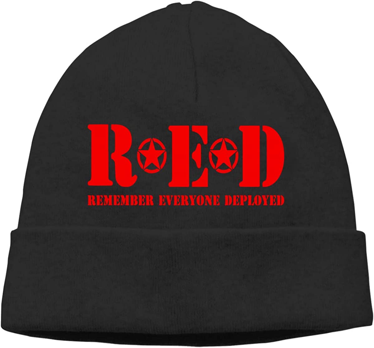 Unisex RED Remember Everyone Deployed Soft Knit Beanie Caps Soft Hat