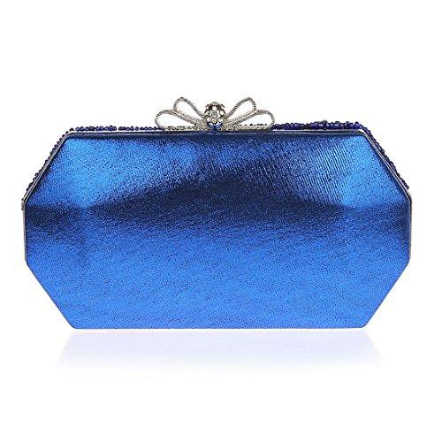 KAXIDY Mujer Carteras de Mano Bolsos de Embrague Bolsos de Boda Bolso de Fiesta Azul