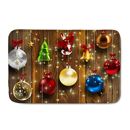 WHEREISART Soft Flannel Doormat Printing Christmas Baubles Mat Non Slip Backing Rectangular Xmas Mat for Inside Front Door Bathroom Kitchen Water-Absorbing (Mats Xmas Door)