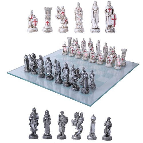 Crusader Christian Kingdoms VS Muslim Ottoman Empire Resin Chess Pieces With Glass Board - Chess Themed Piece War