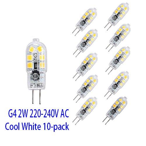 OUGEER Pack de 10 Bombillas LED de Bajo Consumo G4 2W,12 SMD 2835,luz Blanca Frí a 6000K, 200 LM AC220-240V, Bombillas LED Lá mparas G4 luz Blanca Fría 6000K Bombillas LED Lámparas G4