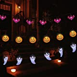 YUNLIGHTS Halloween String Lights, Set of 3 Strings with 30 LED Lights Each - White Ghosts, Orange Jack O'Lanterns, Purple Bats