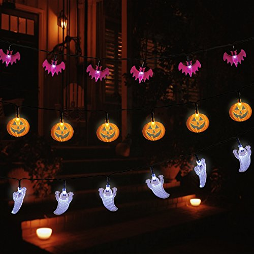 YUNLIGHTS Halloween String Lights, Set of 3 Strings with 30 LED Lights Each - White Ghosts, Orange Jack O'Lanterns, Purple -