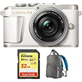 Olympus PEN E-PL9 Pearl White Body, Silver 14-42mm F3.5-5.6 EZ Lens Kit (V205092WU010) with Sandisk 32GB Extreme SD Memory UHS-I Card & Deco Gear Large Photo/Video Backpac Grey