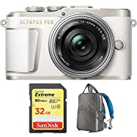 Olympus PEN E-PL9 16.1 MP Wi-Fi 4K Mirrorless Camera Body with Sandisk 32GB Extreme SD Memory UHS-I Card & Deco Gear Large Photo/Video Grey Backpack (Camera and Lens Bundle, Pearl White + Lens)