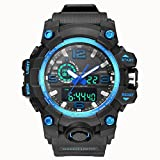 Bounabay Dual Dial Analog Digital Quartz Sport Watch Multifunction Shock Resistant Sport Watches for Men, Blue