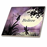 3dRose ct_35696_2 Believe, Fairy with Dragonflies with Moon and Purple Sky Ceramic Tile, 6-Inch