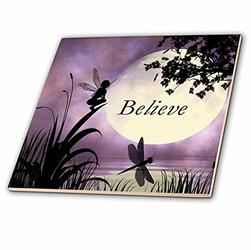 3dRose ct_35696_2 Believe, Fairy with Dragonflies with Moon and Purple Sky Ceramic Tile, -