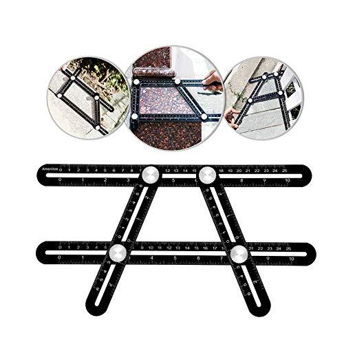 Multi Angle Measuring Ruler Multi-function Aluminum Alloy Template Tool Angularizer Ruler for Builders Carpenter Craftsmen (Bolt Eye Short)
