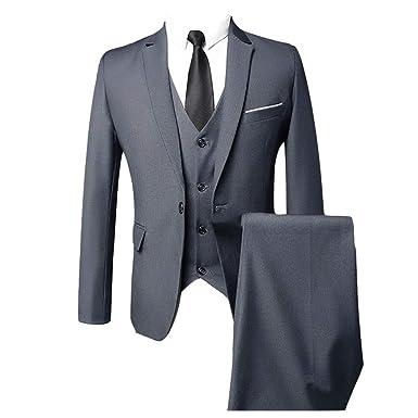 ROBO Traje Suit Hombre 3 Piezas Chaqueta Chaleco Pantalón Traje al Estilo Occidental