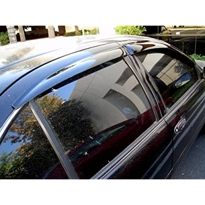 Tuningpros WD2-109i In-Channel Window Visor Deflector Rain Guard Dark Smoke, 4 Pcs Set Compatible With 2006-2010 Dodge Charger: Automotive