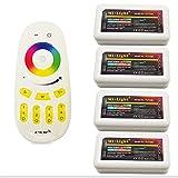 Mi-light Wireless 2.4G RF RGB + White/Warm White Controller Kit, 4 x Controllers and 4-Zone Remote, Wi-Fi Bridge Compatible, 4CH Multicolor RGBW/RGBWW LED Strip Light Controller