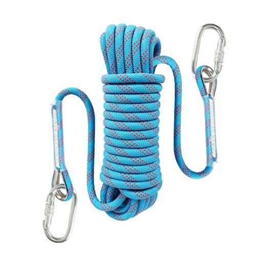 Liberry Outdoor Static Rock Climbing Rope,10_mm Diameter, Fire Escape Safety Rappelling Rope Outdoor Rescue Rope with Hooks: 32_ft, 64_ft, 96_ft Optional (blue1, 32 ft) ()