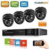 Floureon 8 CH Home Security Camera System DVR 960H + 4 Outdoor/ Indoor Dome Security Cameras 1000TVL HD Resultion Night Version for House/ Apartment/Office