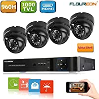 Floureon 8CH 960H CCTV DVR with 4 Dome 1000TVL Waterproof Camera Security Kit (NO HDD)