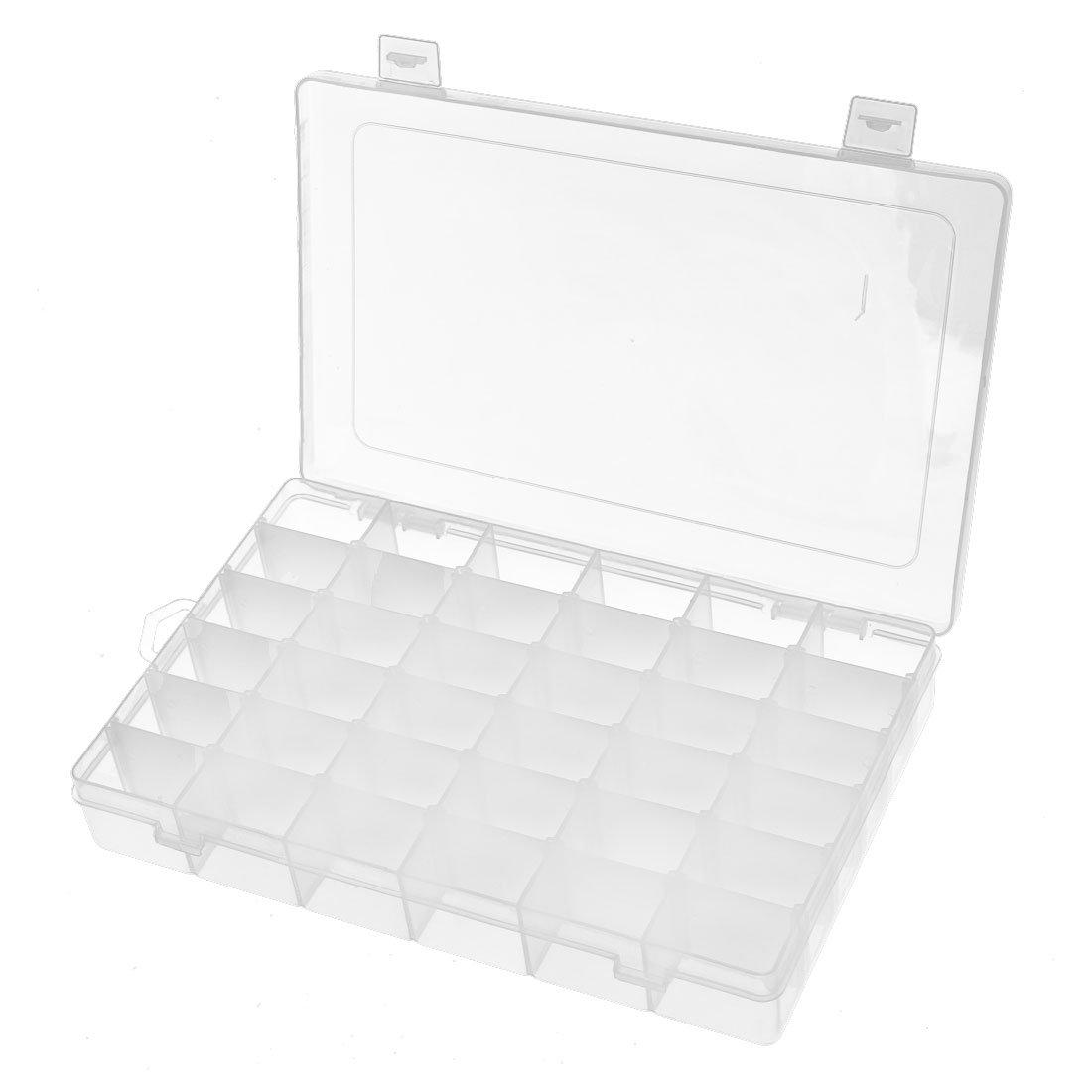 uxcell 273mmx175mmx45mm 36 Slots Component Storage Organizer Case DIY Tool Clear