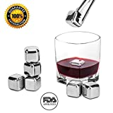 Whiskey Stones by Wuudi Stainless Steel Reusable Wine Cooling Cubes with Ice Tongs, Whiskey Chilling Rocks, Whisky Ice Stones (8 pieces)