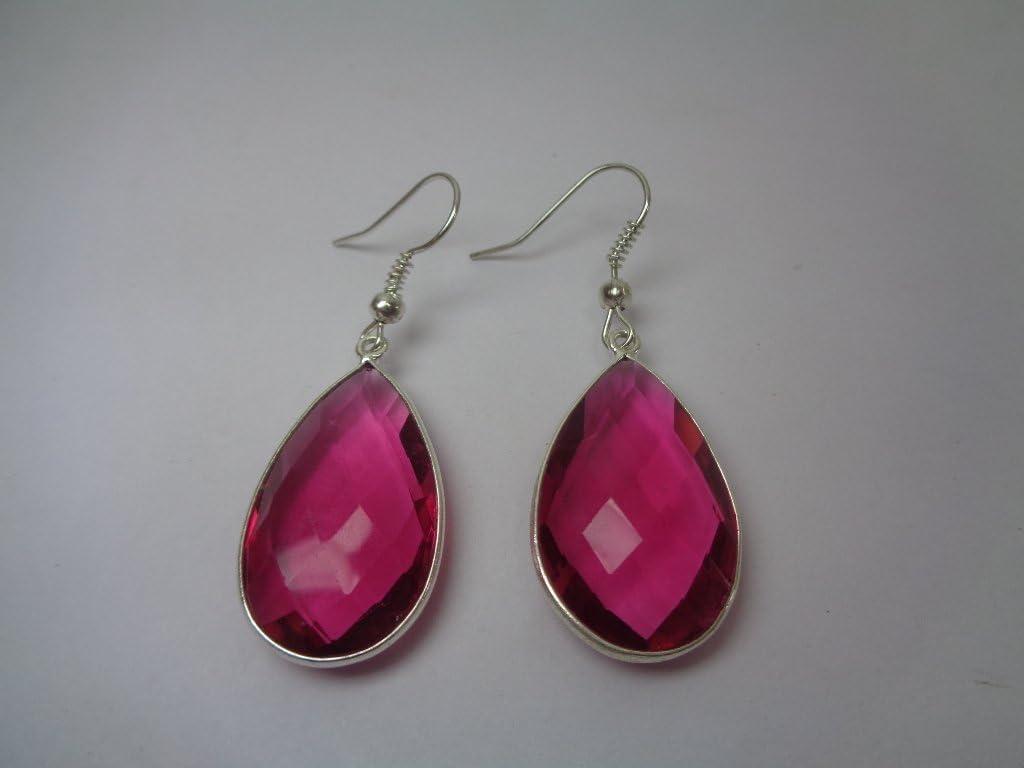 Color rosa turmalina cuarzo pendientes, 925Plata de Ley Pendientes, regalo para ella