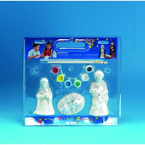 Paint Holy Family 5 inch Kids Christmas Nativity 3 Piece Figurine Plus Art Set