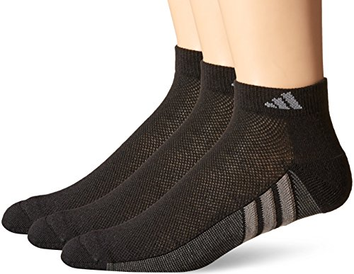 adidas Mens Climacool Superlite Low Cut Socks (3 Pack), Black/Graphite/Medium Lead, Size 6-12