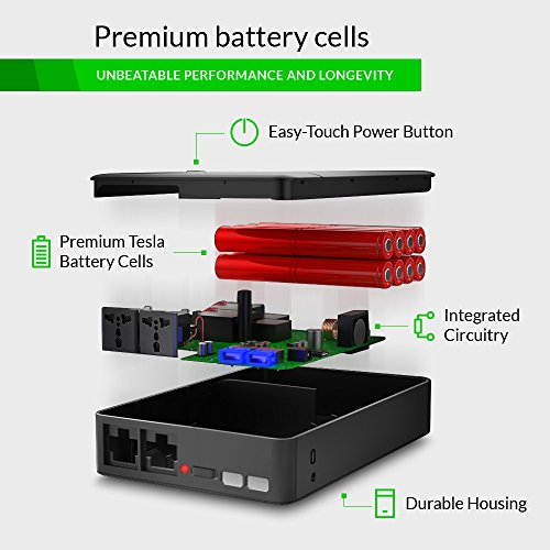 Portable AC Outlet Battery Pack by ChargeTech - 54000mAh 250W / 110V [8-18 Extra Hours For Most Laptops] - External Power Bank Charger for MacBooks, Laptops, Cameras, Camping, CPAP Machines [BLACK] by ChargeTech (Image #2)
