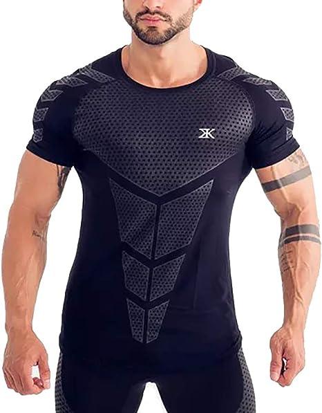 Workout Camisetas Deportivas para Hombre Camiseta De Poliéster De Manga Corta para Hombre Medias Musculares Ropa De Secado Rápido Gimnasio: Amazon.es: Deportes y aire libre