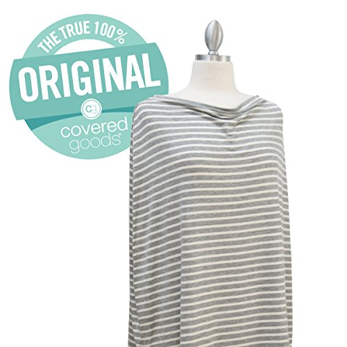Covered Goods multi-use nursing cover - Grey and Ivory Pinstripe